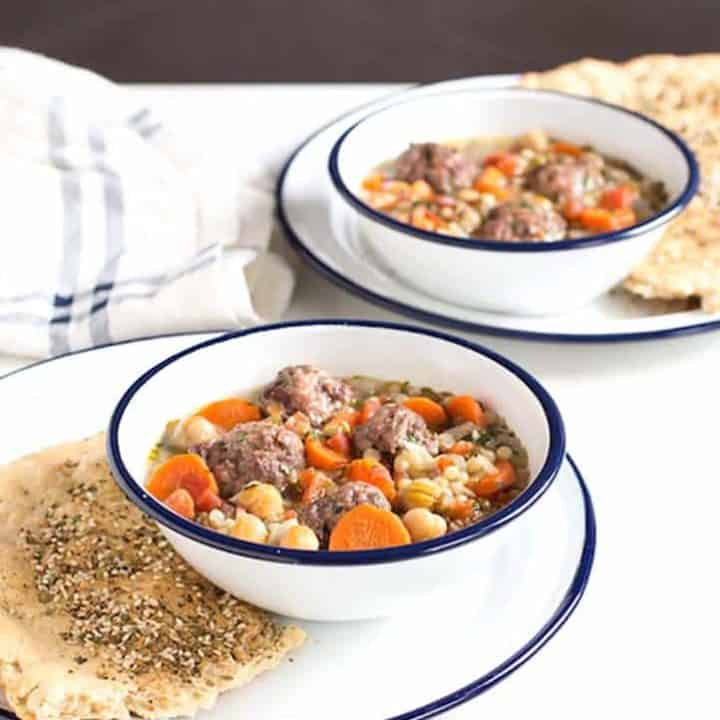 Meatball Lentil Soup with Chickpeas and Tomatoes
