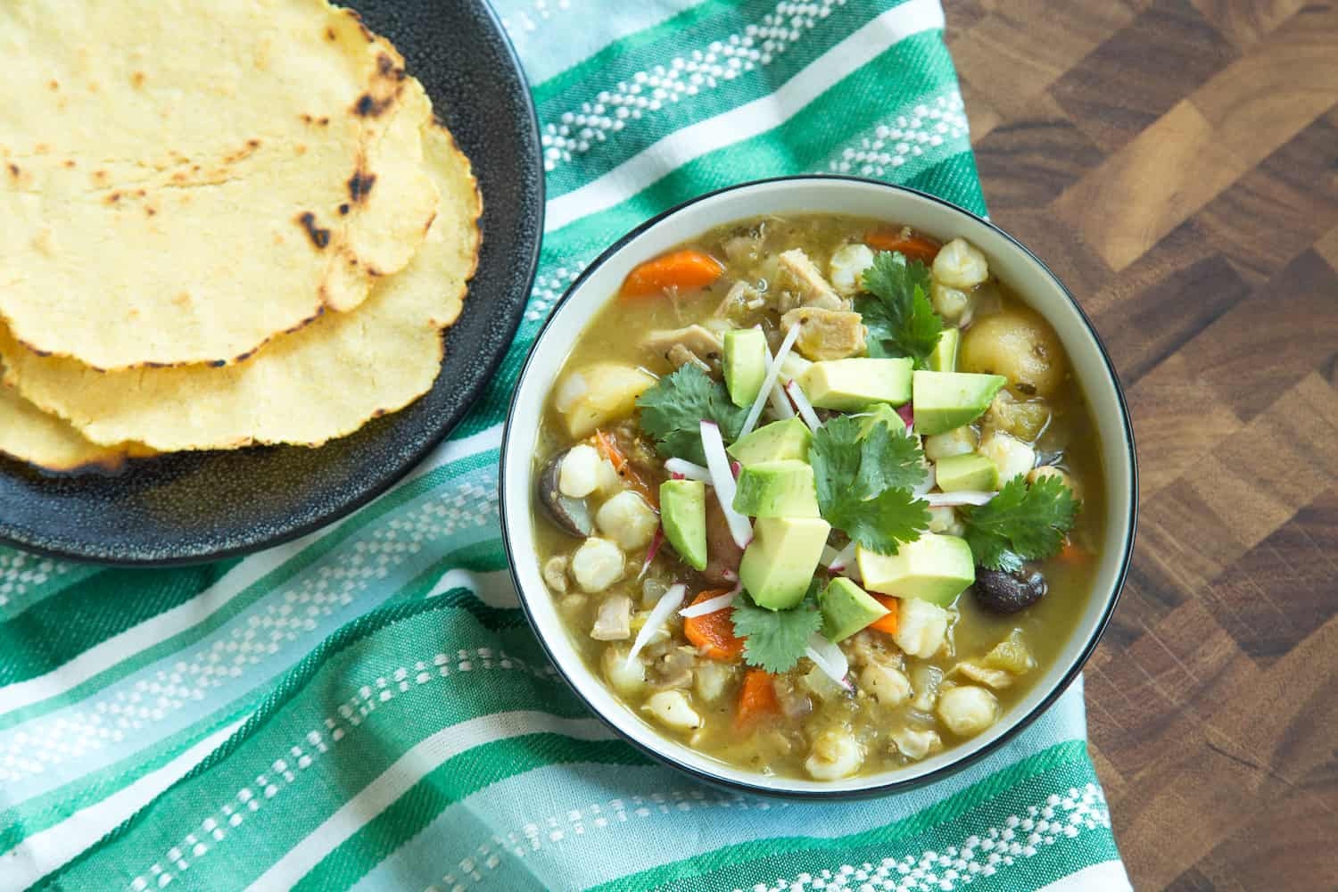 pork and hominy stew with tortillas