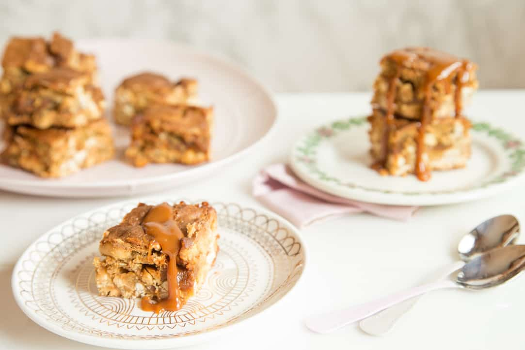 peanut caramel blondies with homemade peanut butter caramel, via www.www.goodfoodstories.com