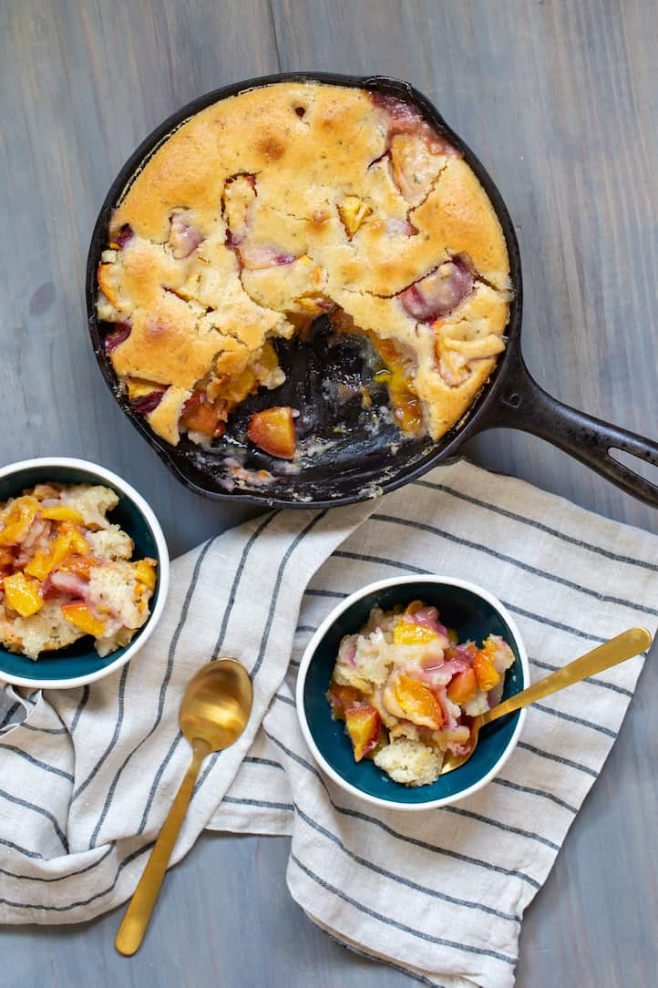 peach cobbler cake with rosemary, via www.goodfoodstories.com