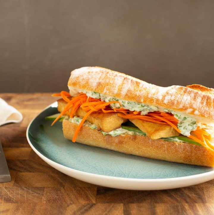 lemongrass tofu banh mi, via goodfoodstories.com