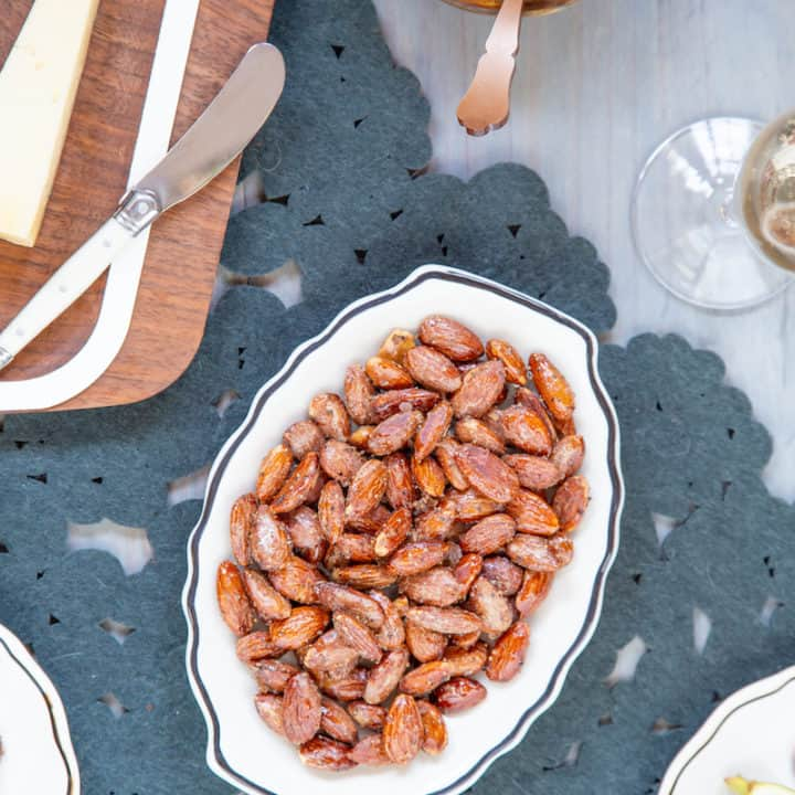 Maple spiced nuts balance a crunchy, sweet maple syrup glaze with a touch of heat from smoky chipotle and black pepper.
