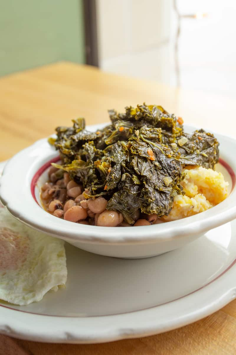 Braised greens with grits and beans are a savory breakfast at Pittsburgh's Pie for Breakfast.