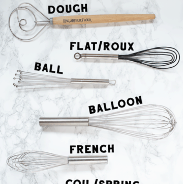 Learn about the different types of whisks and which type of whisk you should used based on what recipe you're cooking.