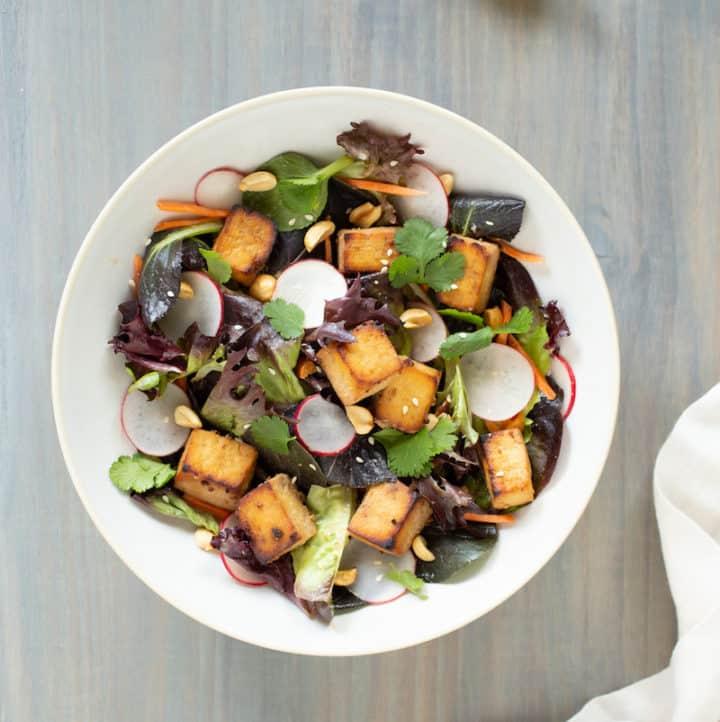 baked tofu salad with lime tahini dressing