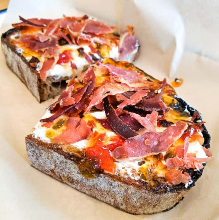 Toast Bar prosciutto, red pepper jelly, and cream cheese toast