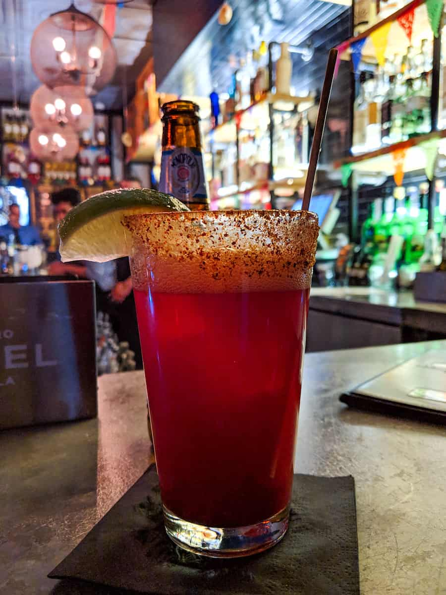 prickly pear michelada at La Contenta Oeste in Manhattan