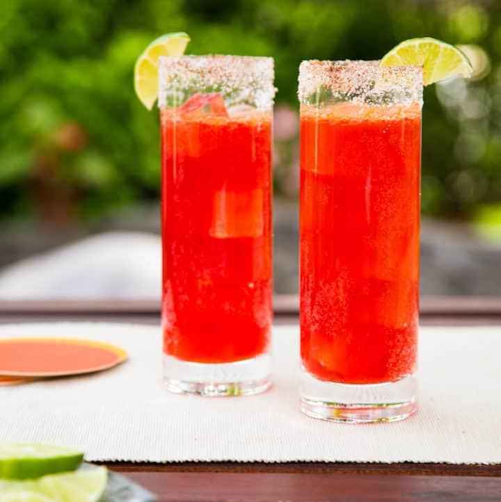 prickly pear micheladas - beer cocktails