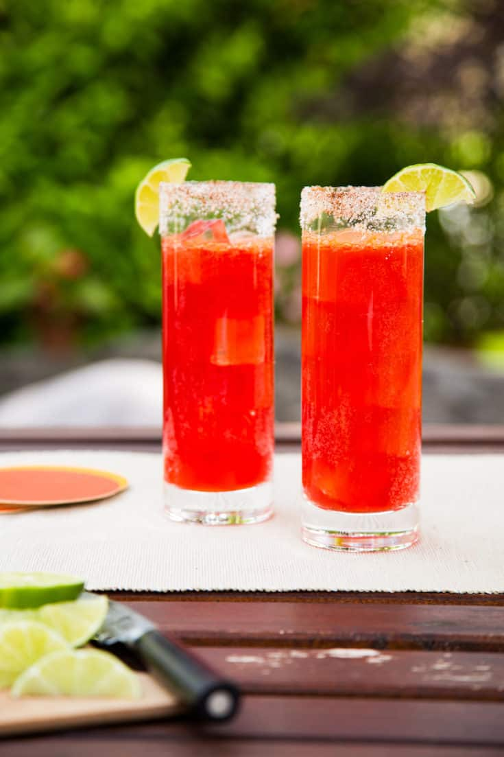 Prickly pear micheladas are sweet, salty, and spicy all at once for an unusual but delicious flavor combination. Try this beer cocktail tonight. #pricklypear #michelada #beercocktail