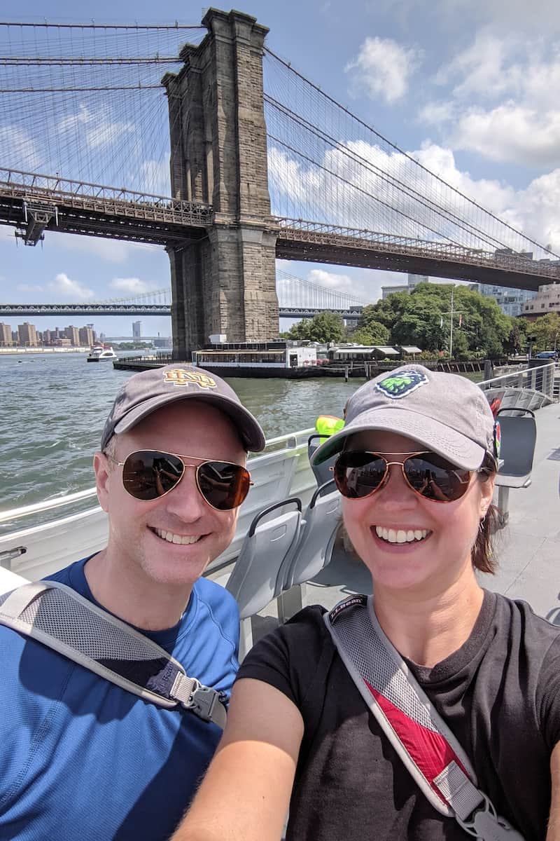 on the ferry toward Brooklyn