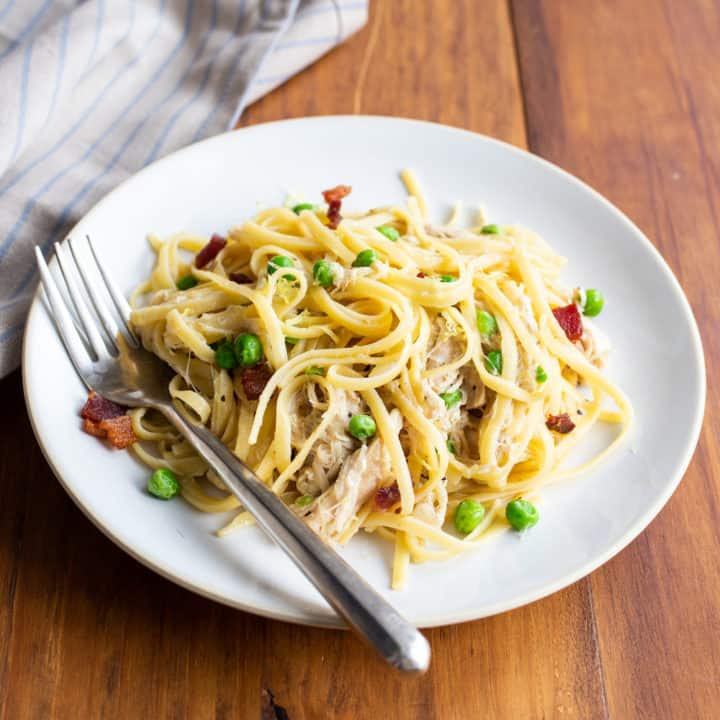 Instant Pot Chicken Pasta with Peas, Bacon, and Lemon Zest