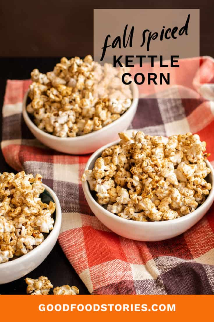 Fall spiced kettle corn is fragrant with cardamom, sage, and cloves, and sweetened with maple for the perfect seasonal blend of sugar and spice. #kettlecorn #popcorn #fallspice #snacks
