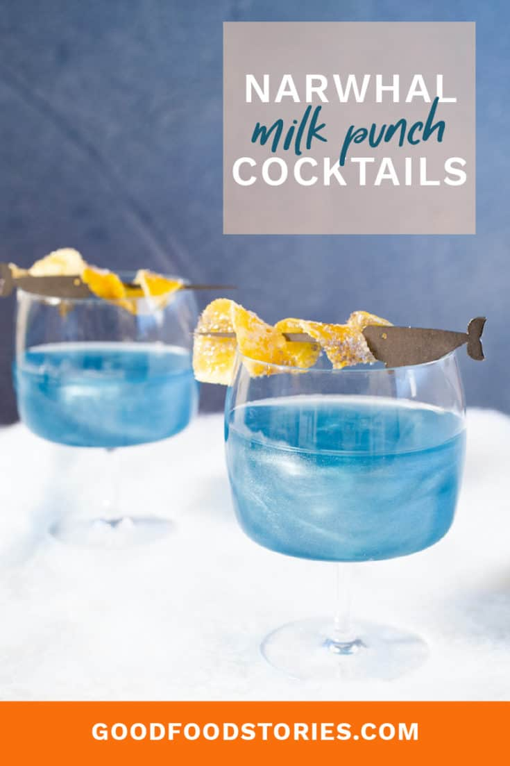 The Narwhal Cocktail is a magical way to celebrate the holidays. Made with clarified milk punch and edible cocktail shimmer dust, it truly sparkles. #narwhal #holiday #cocktail #edibleglitter #milkpunch