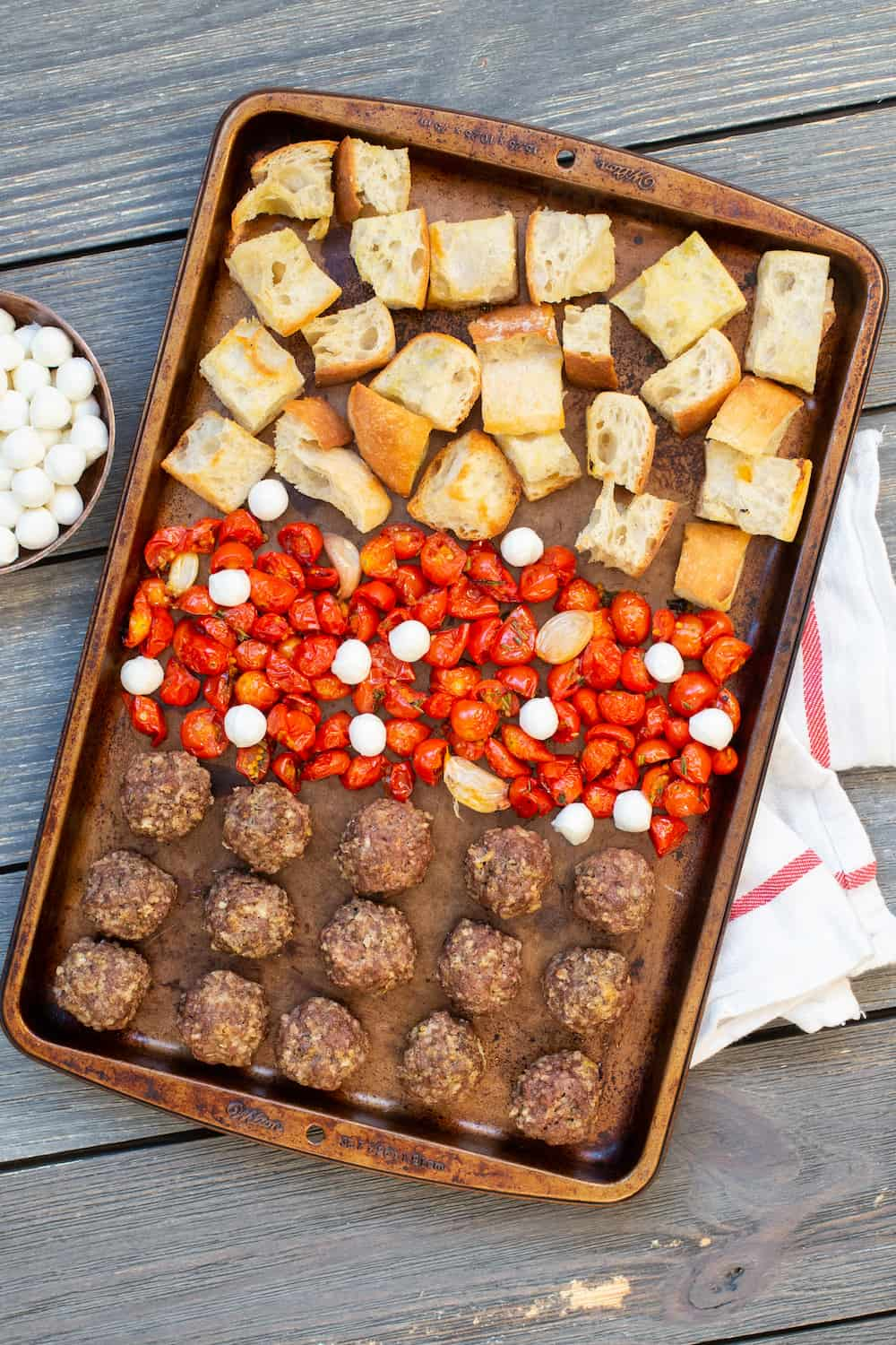 sheet pan meatball parm dinner