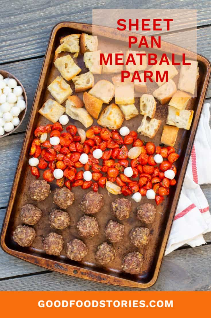 Sheet pan meatball parm takes everything you love about the classic Italian-American sandwich and turns it into a fun and easy one-bowl dinner. #sheetpan #meatballparm #italian #ovenbaked