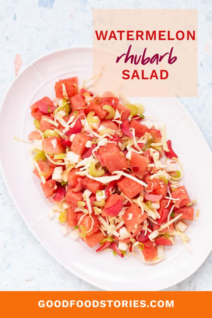 Watermelon salad is always welcome at outdoor parties. This version, with rhubarb, celery, and jicama, is a refreshing blend of sweet and tangy flavors and crunchy textures. #watermelonsalad #watermelon #partyrecipes #summerrecipes