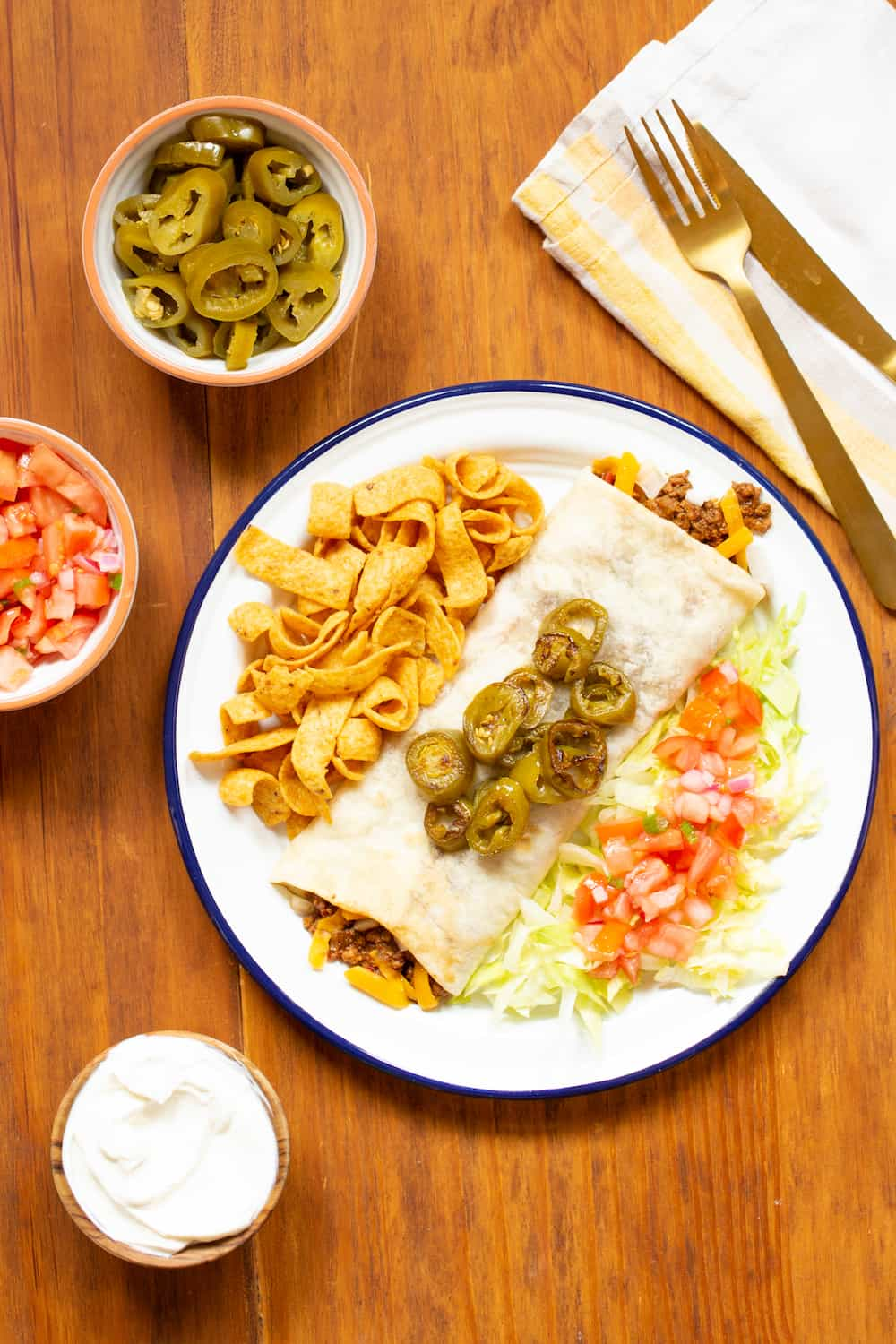 Texas-style chili cheese burrito