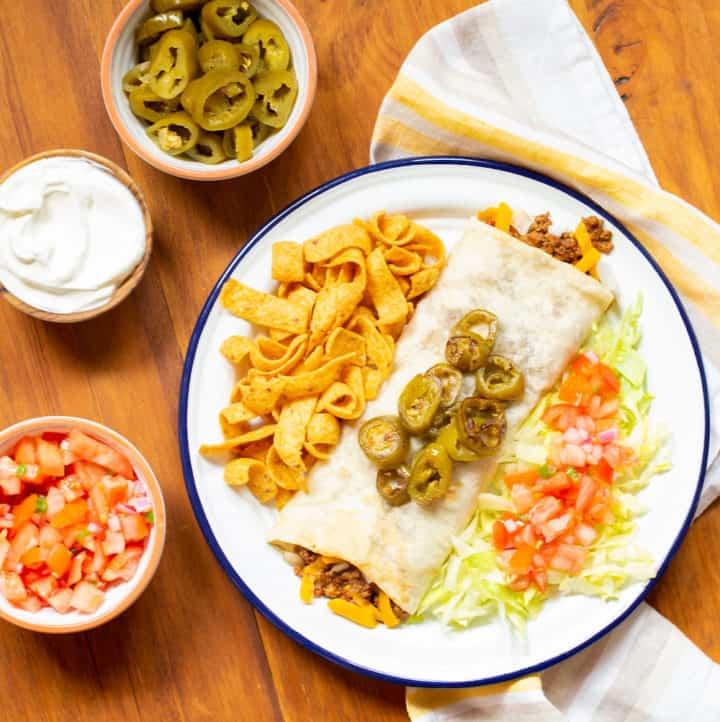 Texas-style chili cheese burrito