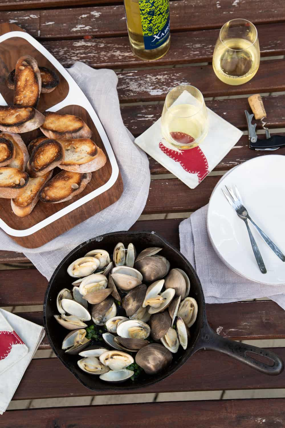 grilled clams and bread