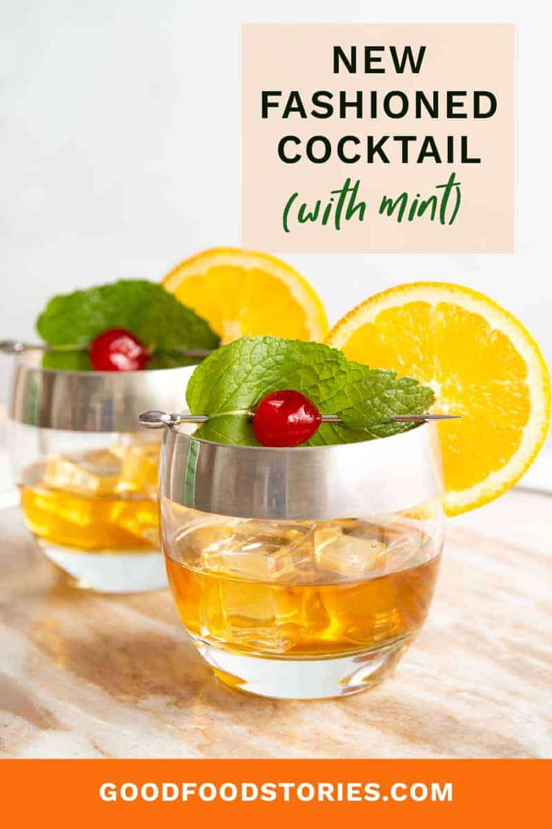new fashioned cocktail with mint