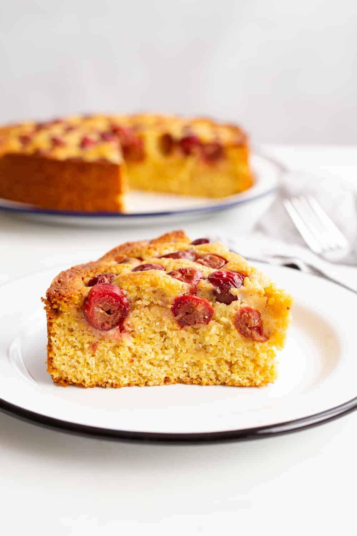 Sour Cherry Polenta Cake
