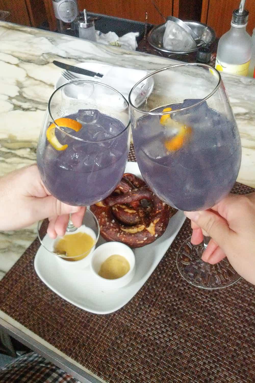 two purple spritz cocktails