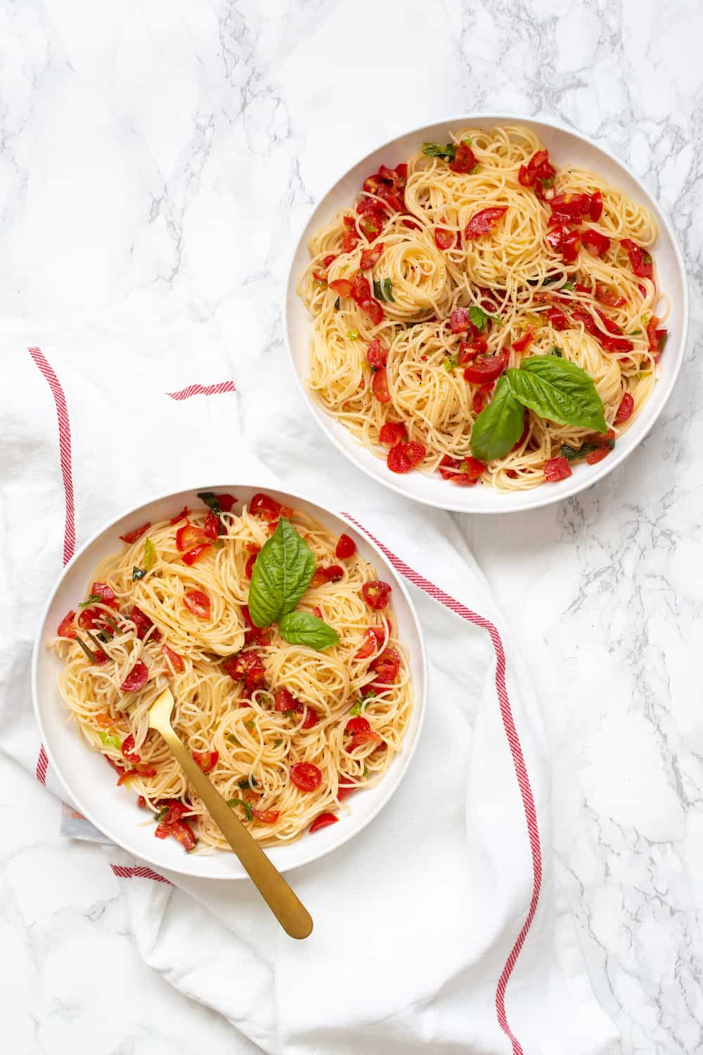 angel hair with no-cook tomato sauce