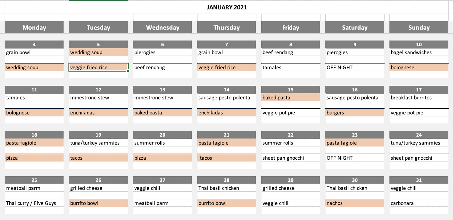 filling out a monthly meal plan