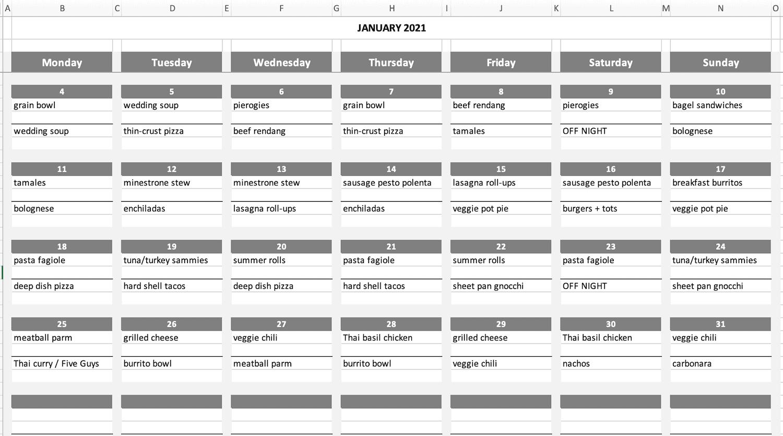 monthly meal plan calendar template