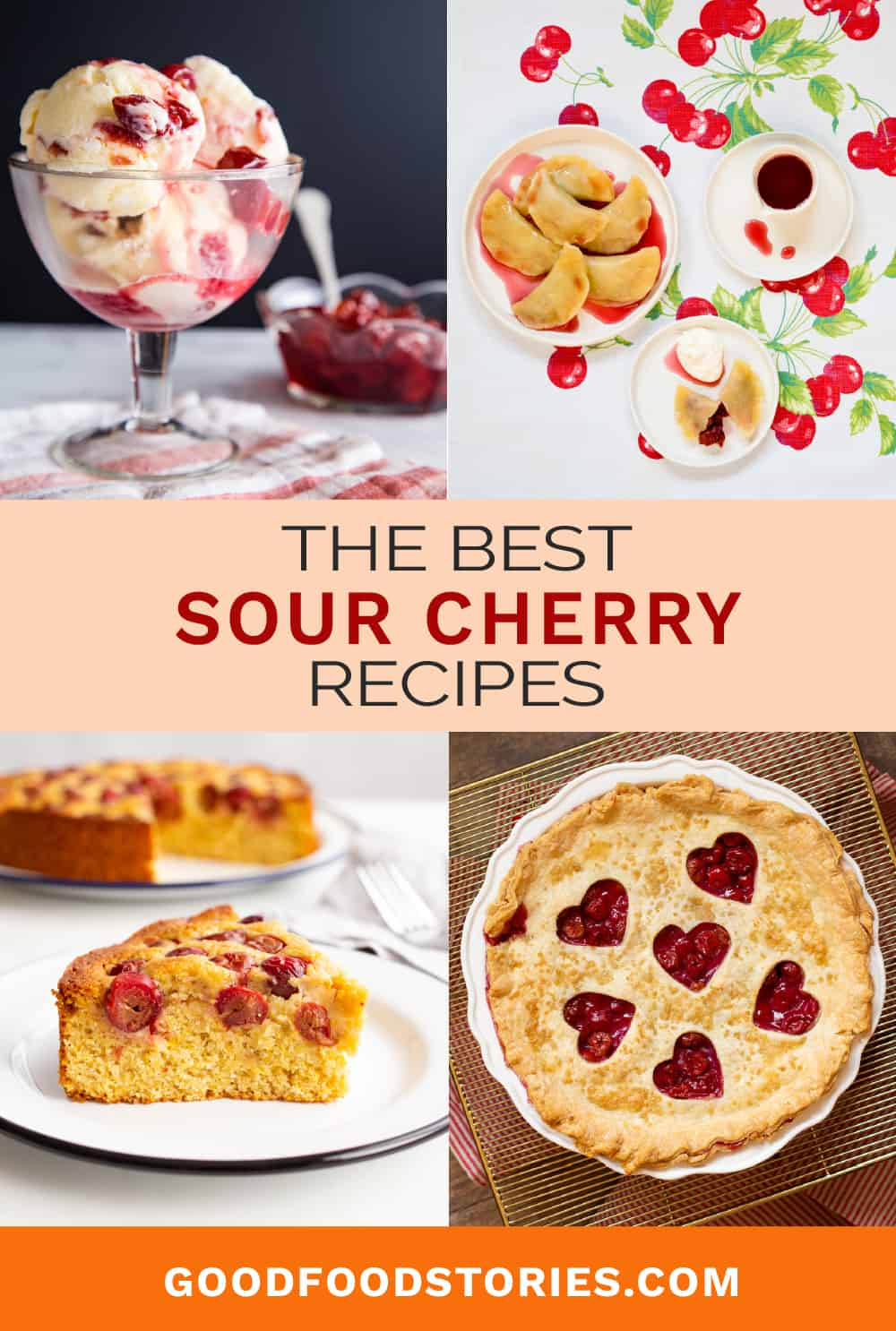 collage of sour cherry recipes