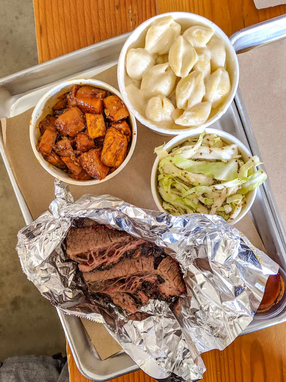 A-OK BBQ brisket, slaw, mac and cheese, and sweet potatoes