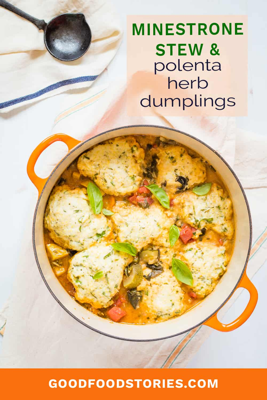 minestrone stew with polenta herb dumplings