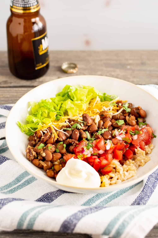burrito bowl made with borracho beans