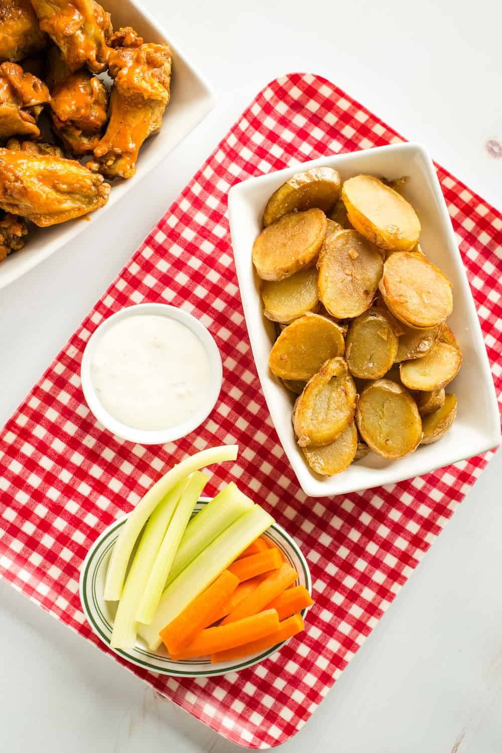 fried buffalo chip potatoes with wings